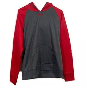 Under Armour Red & Grey Colorblock Hoodie
